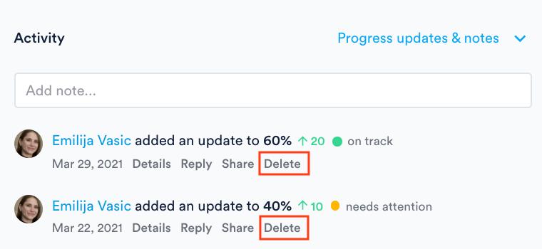 Delete progress update in Activity panel