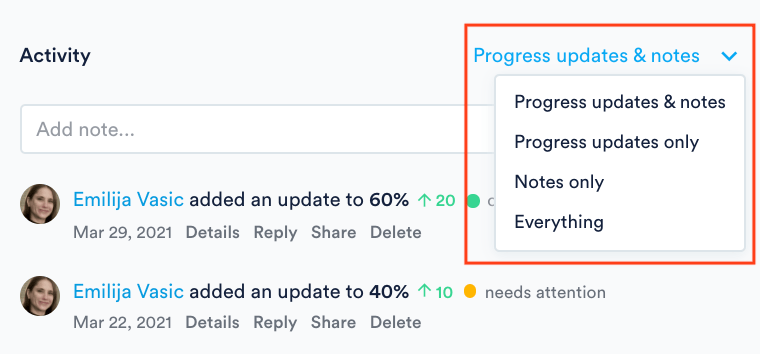 Filter for progress updates only in Activity panel