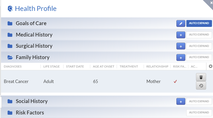 health profile with family history section expanded