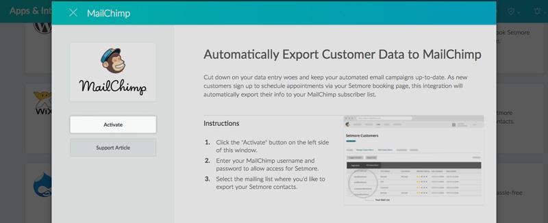 The Setmore Mailchimp integration pop up