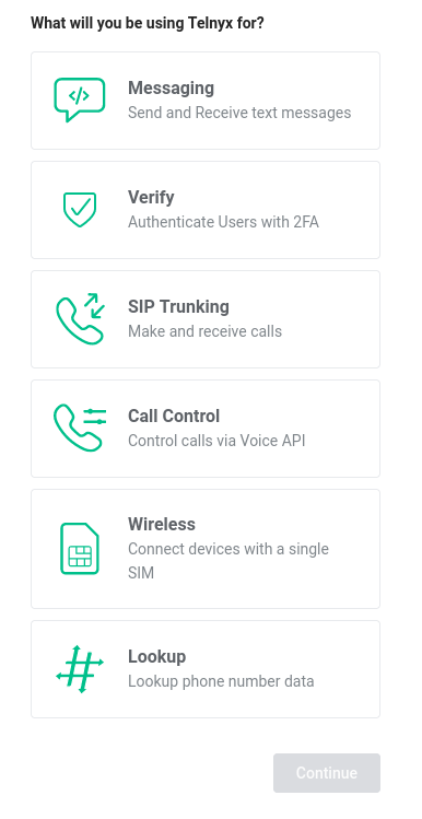 List of Telnyx features that the user can specify for their use case