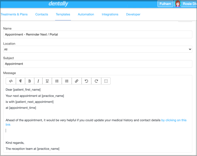 Dentally Template for all communications, including how to use the patient portal