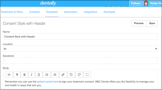 Dentally Include Patient Portal link to your Estimates & Consent forms