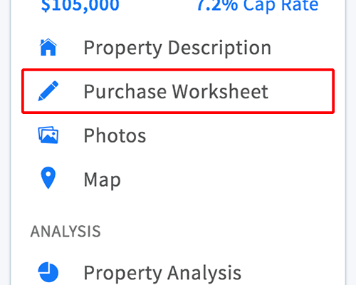 Purchase worksheet page link in property menu