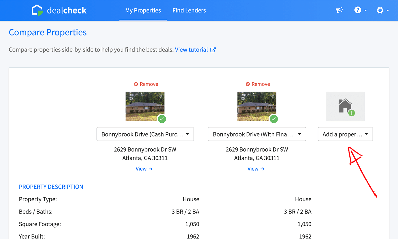 Property comparison view