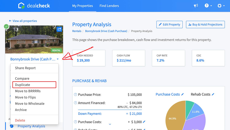 Property duplicate link in property menu