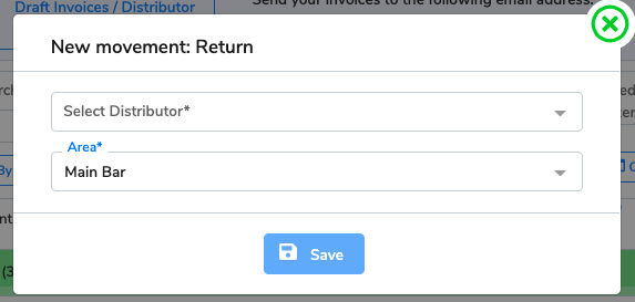 The new return window. There is a drop-down to select the distributor you're returning the items to and the area they are coming from.