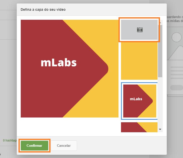 ALT: tela de agendamento de posts da mLabs, com destaque apara a seleção da miniatura que será usada na capa do vídeo