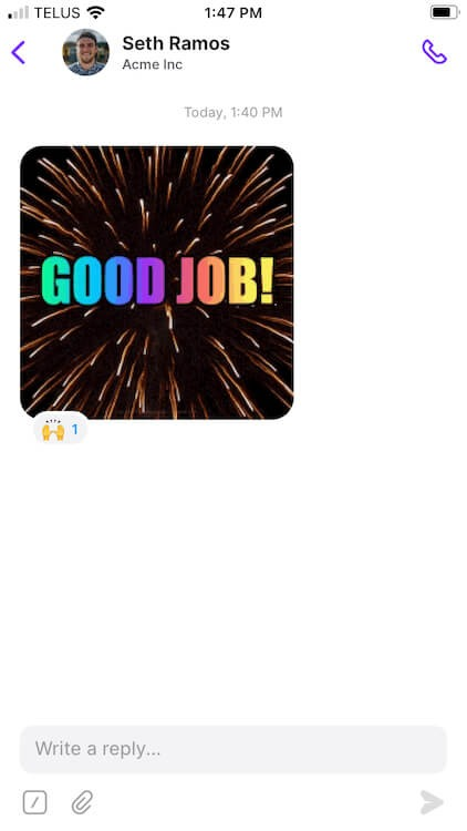 leaving an emoji reaction to a picture sent a contact sent in OpenPhone