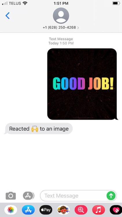what reaction notification looks like if the recipient has an iPhone