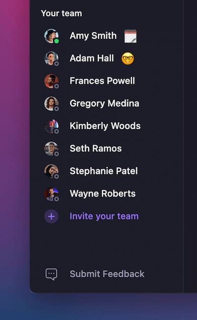 Viewing team status in OpenPhone