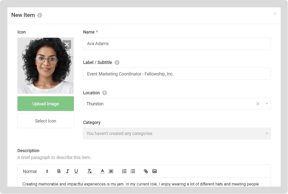 Screenshot of the New Item modal.