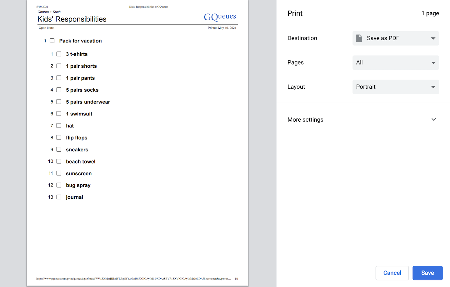 Use the print preview window to make sure the correct information is showing