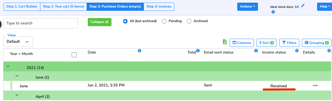 The Invoice status now displays as