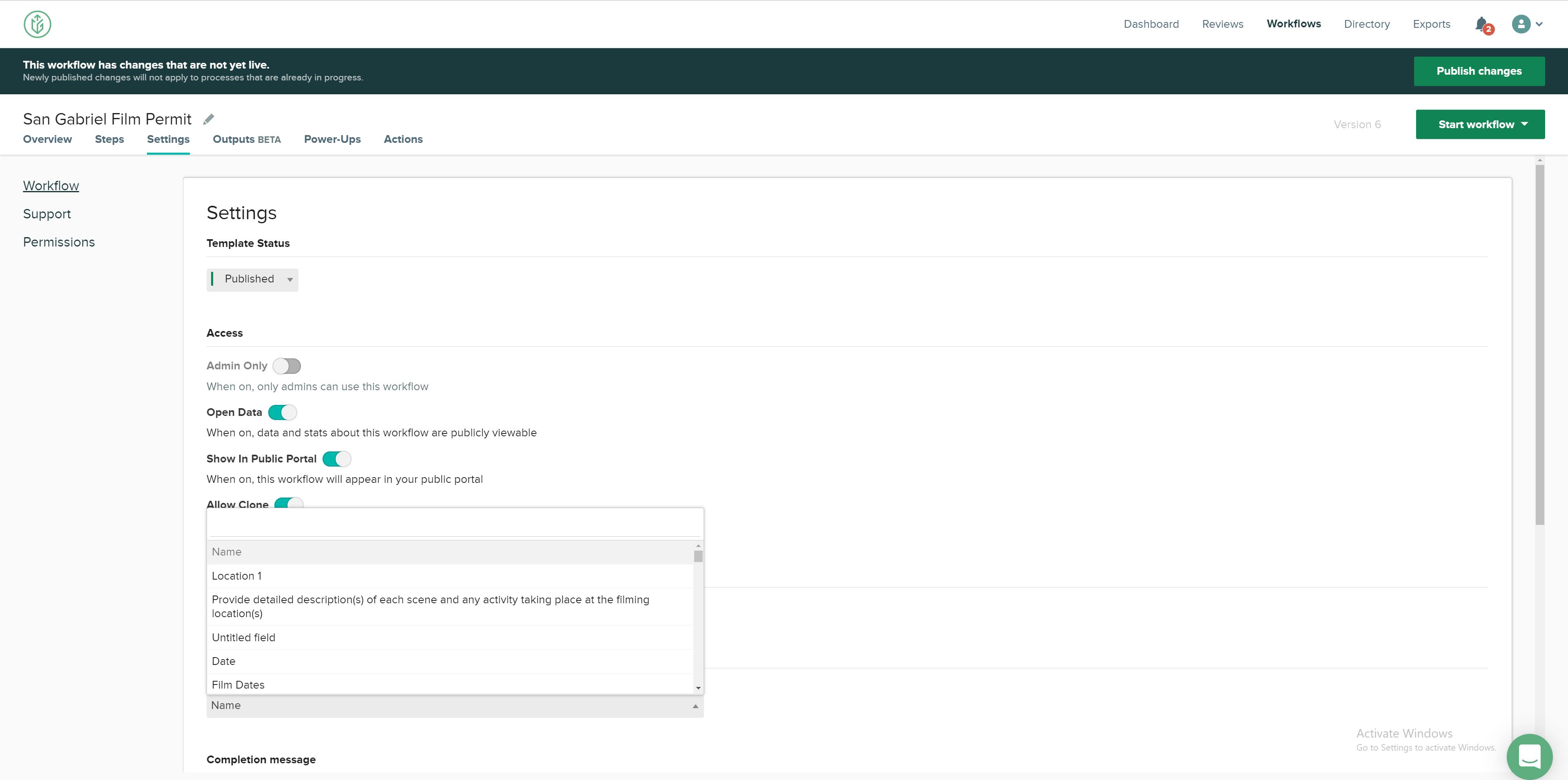 CityGrows Identifier Field in Workflow settings
