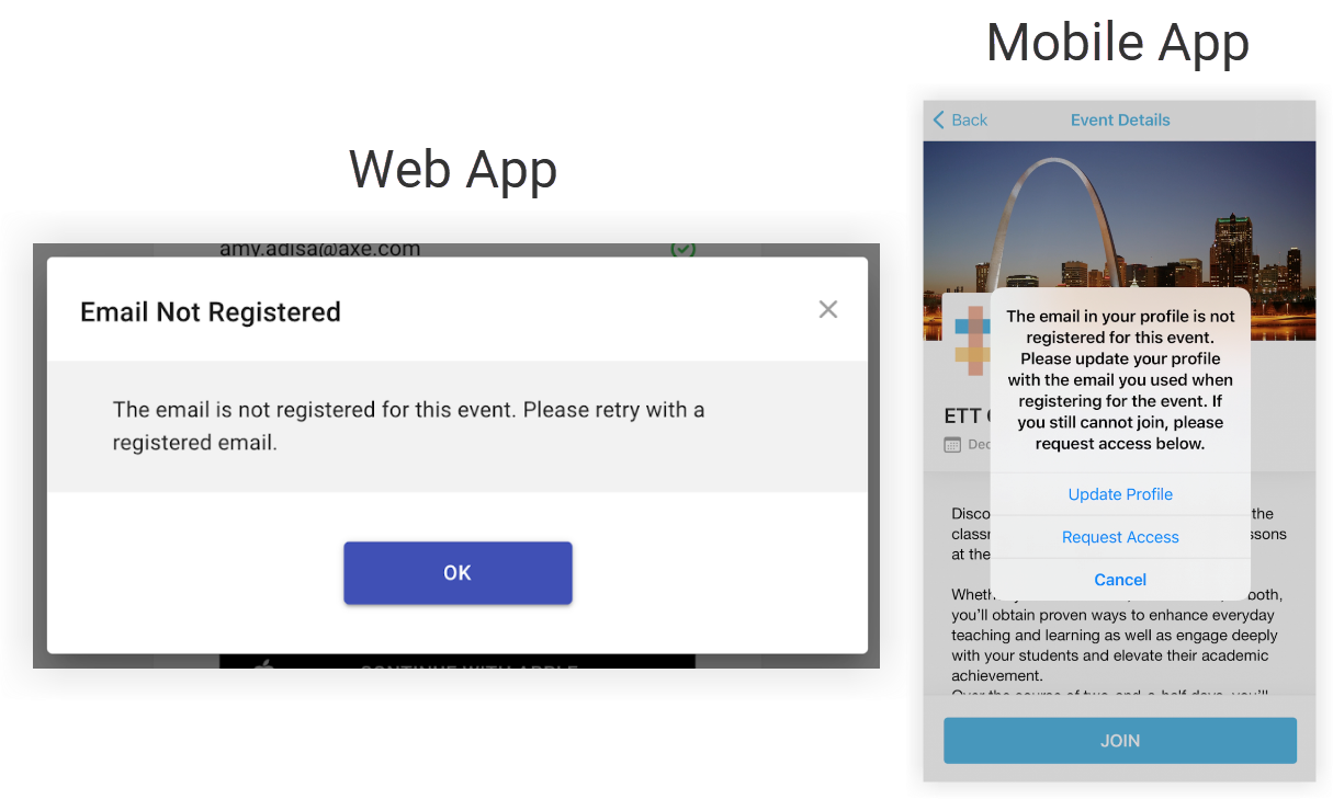 Two screenshots showing the Web App error and Mobile app error just mentioned.