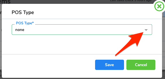 An arrow points to click the drop-down menu in the POS Type field.