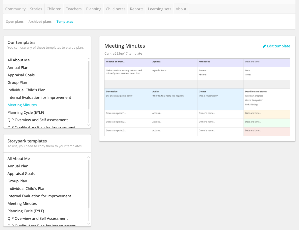 Working with planning templates | Storypark Docs