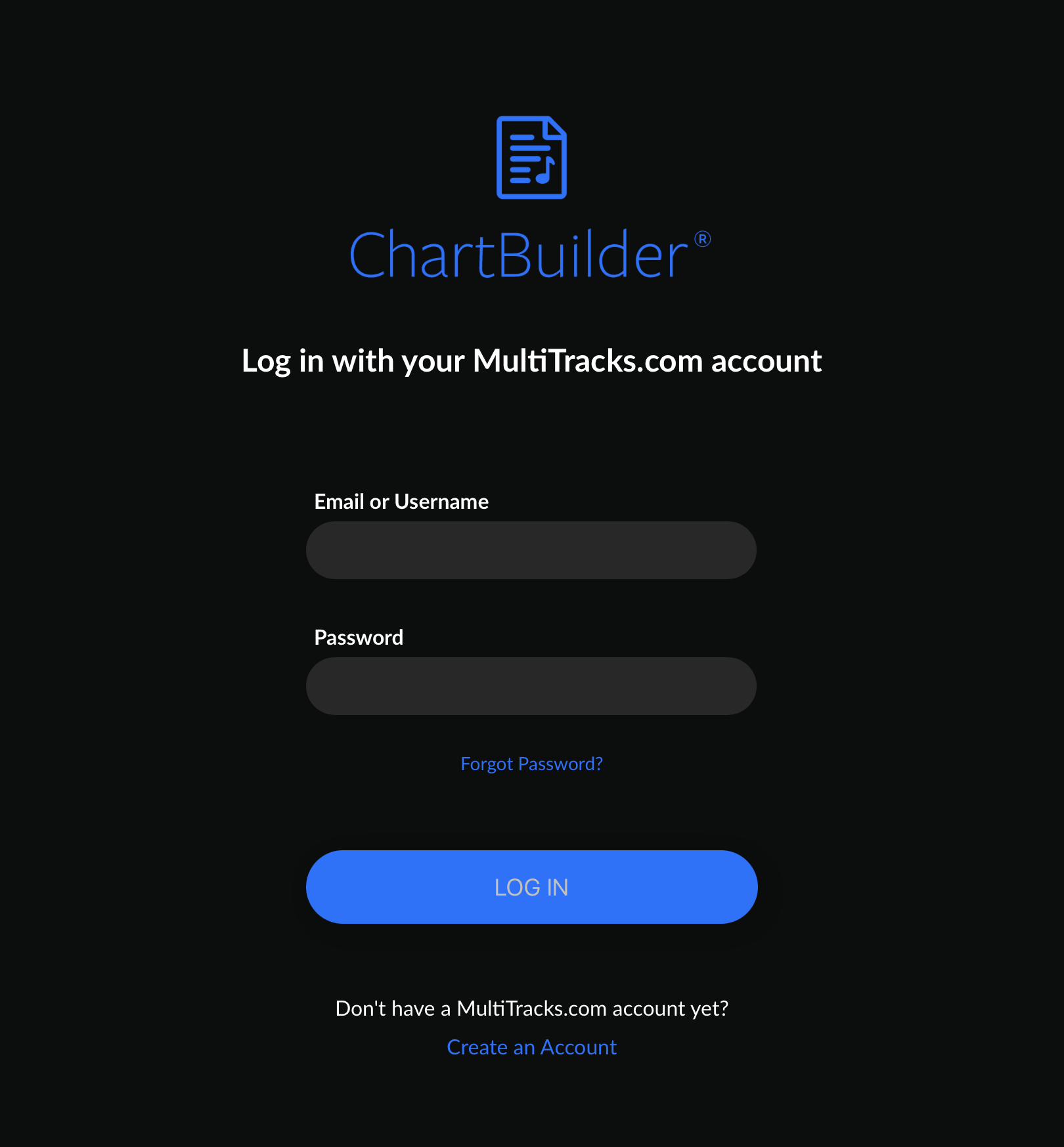 The opening screen of ChartBuilder features the options of logging into an existing MultiTracks.com account or creating a new one.