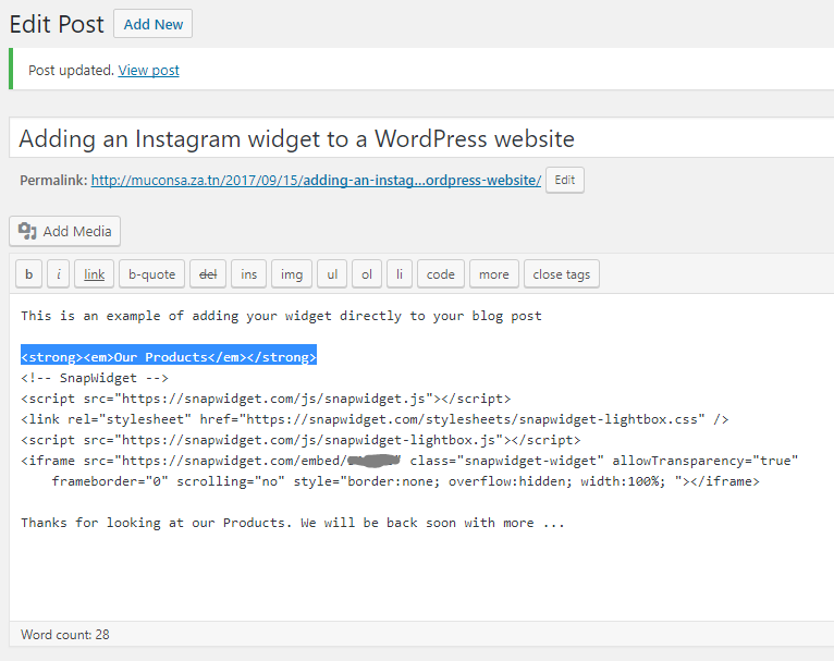 How do i add an instagram widget to my wordpress website adding a bold italic line ccuart Choice Image
