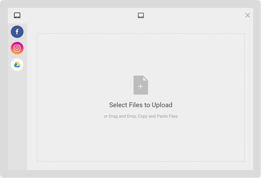 Screenshot of the Select Files modal.