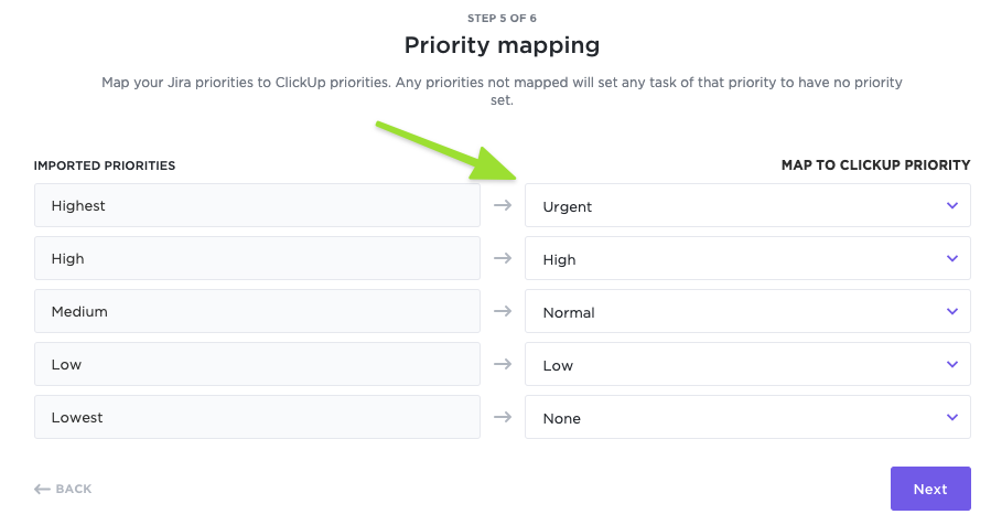 Priority mapping from JIRA to ClickUp