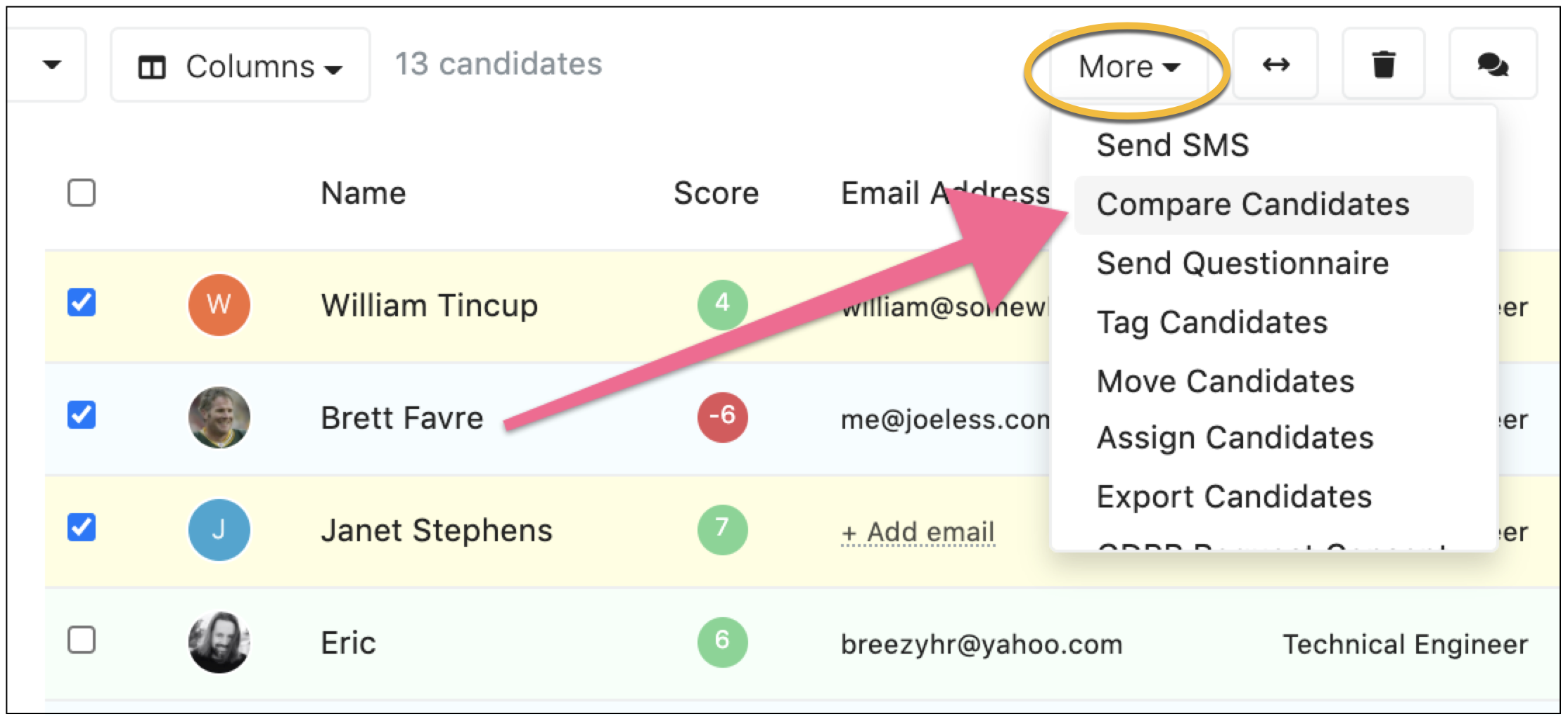 Accessing candidate compare from the Candidates tab