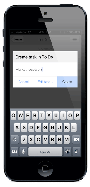 To add multiple tasks in a row, click Create to start a new task right away