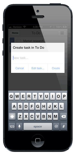 Then you can start typing the new task right away