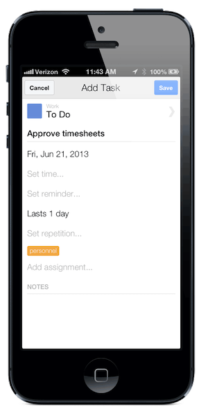 To add a repeating task, set repetition from task details
