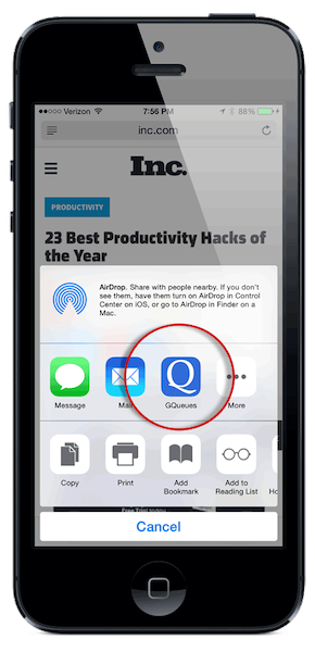 Once it's added, you can tap the GQueues icon to create a task