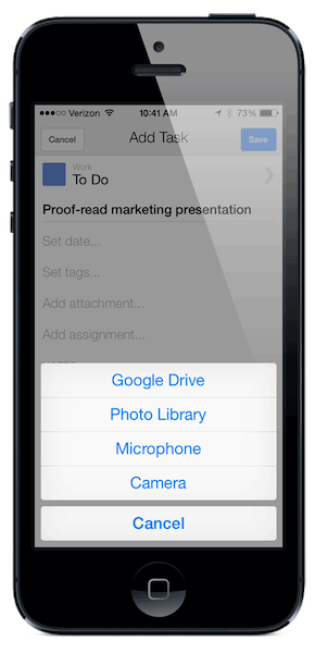 Choose to attach a file from Drive, your photo library, record new audio or take a new picture.