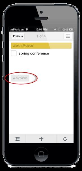 When viewing task details, tap the subtasks button to view subtasks
