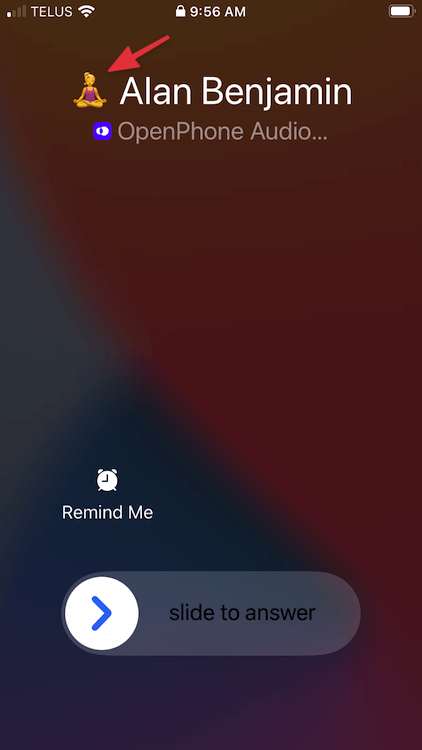 incoming call to an OpenPhone number showing the emoji associated with the inbox so you can distinguish what number a contact dialed to reach you