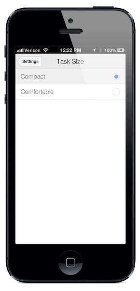 Choose between compact and comfortable for task display