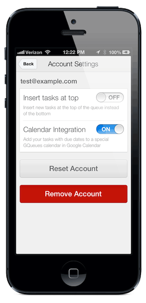 Choose if you'd like tasks inserted at the top or bottom, have calendar syncing active, or reset/remove the account