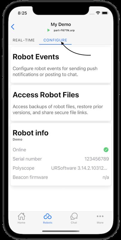 robot configure tab
