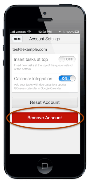 Select Remove Account if you no longer want to view these tasks from your device
