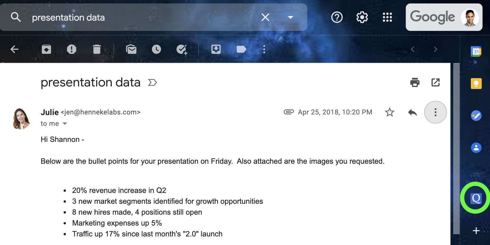 Click the GQueues icon in the add-on panel in Gmail, Calendar or Drive to access your tasks