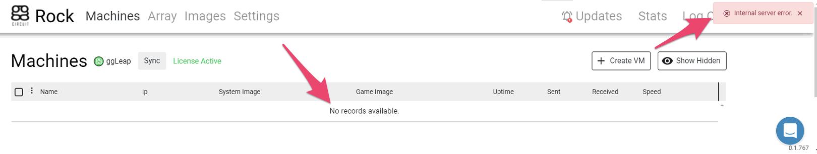ggRock Machines Tab, No records available, Internal Server Error