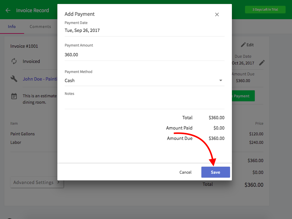 can i record partial payments or down payments on invoices