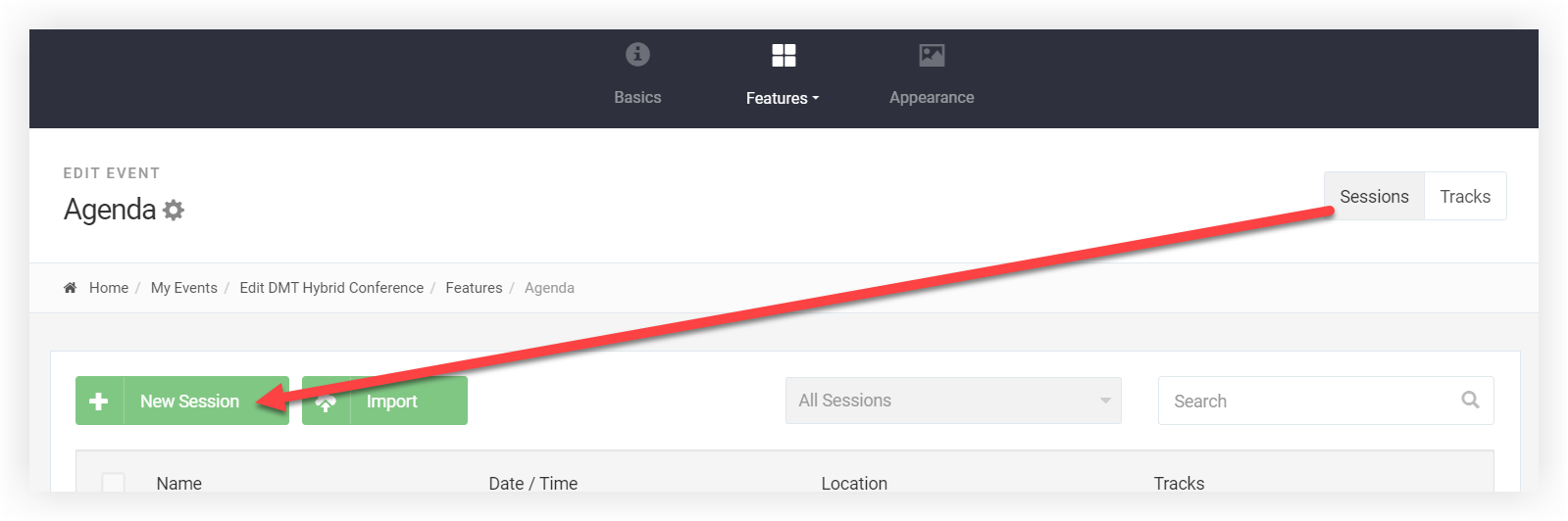 Screenshot of the Agenda page. The New Session button is indicated.