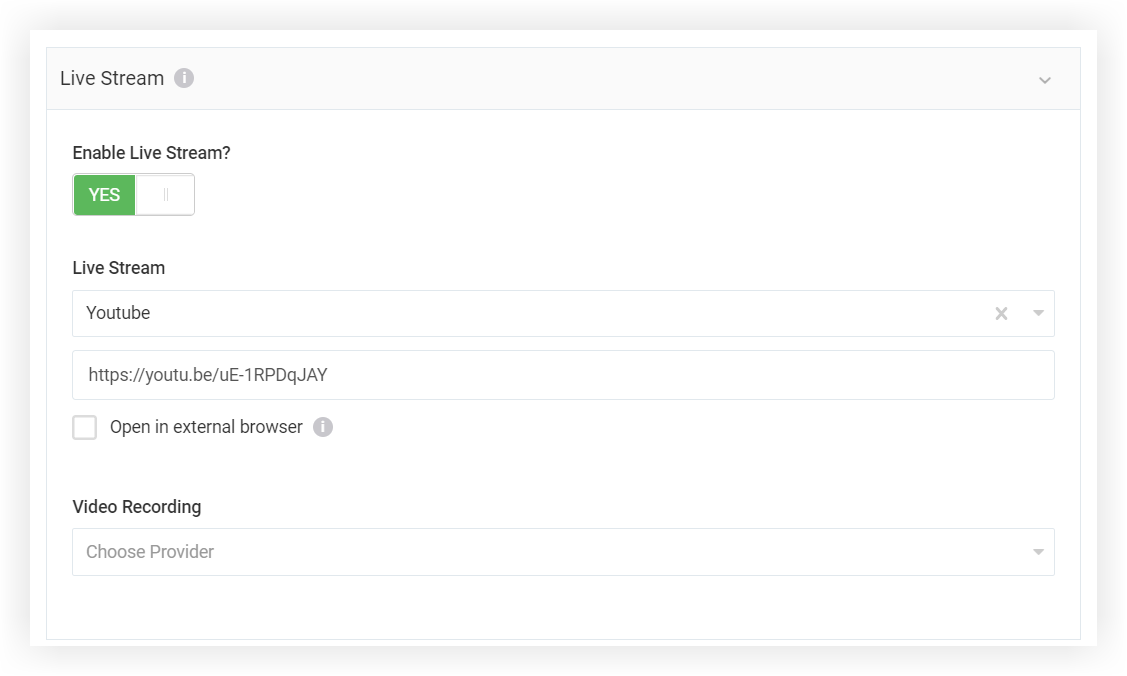 Screenshot of the Live Stream section of the New Session modal.