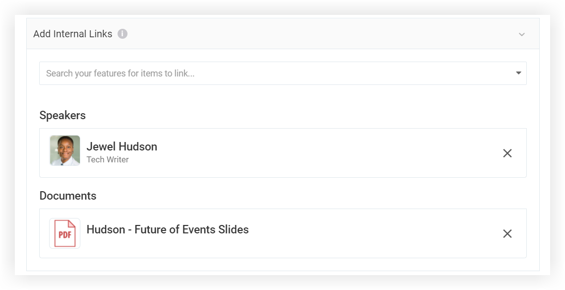 Screenshot of the Add Internal Links section of the modal.