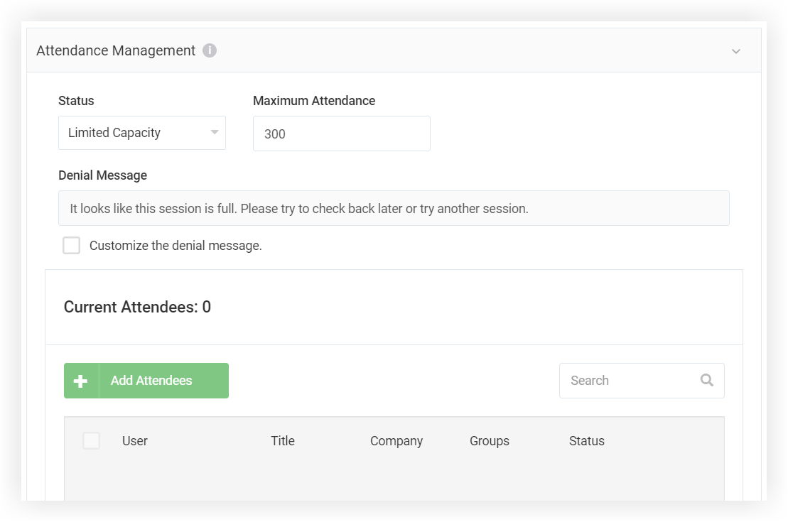 Screenshot of the Attendance Management section of the modal.