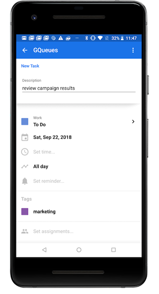 Add task details as desired from your Gmail app