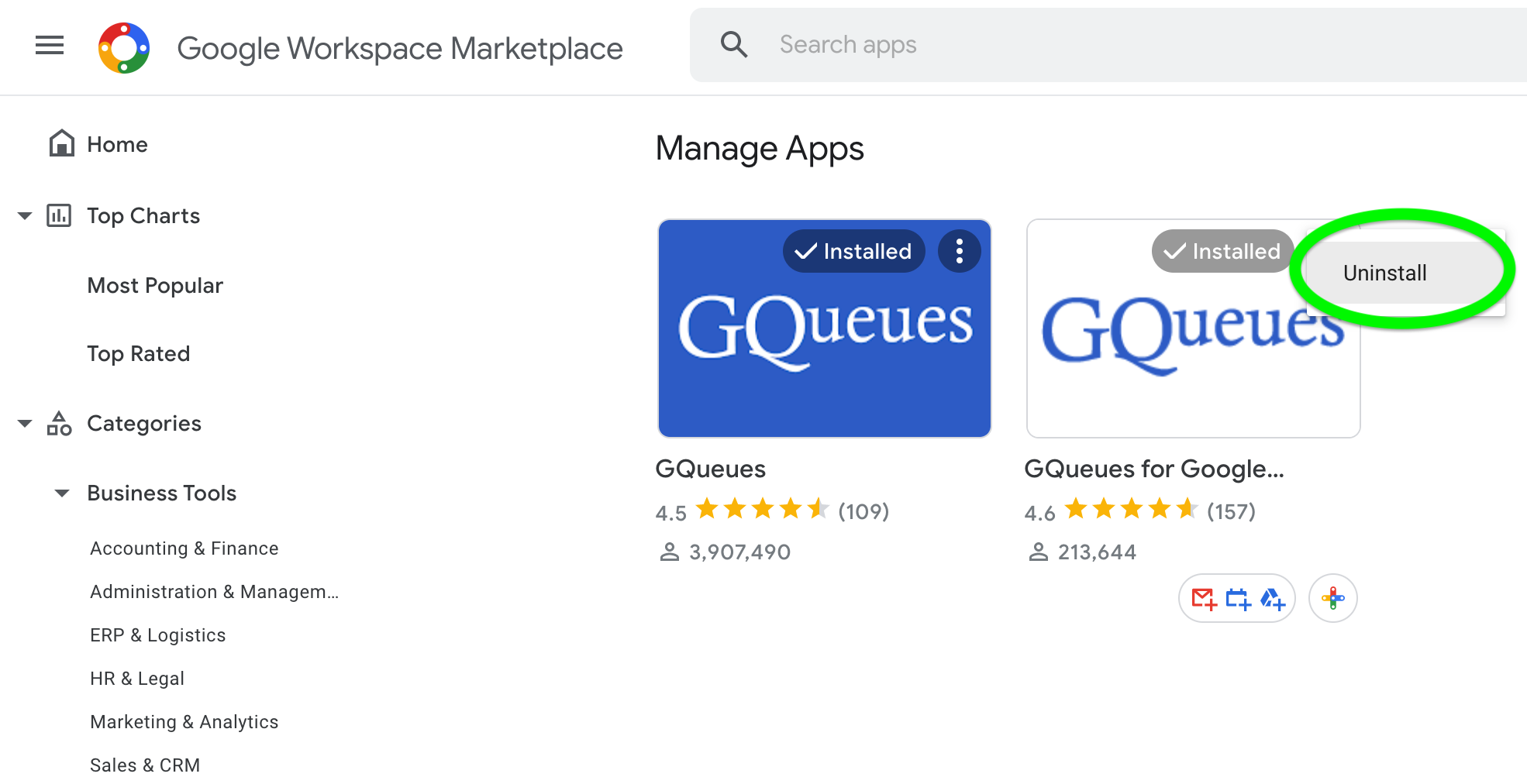 Open the menu for the GQueues for Google Workspace Add-on and select Uninstall