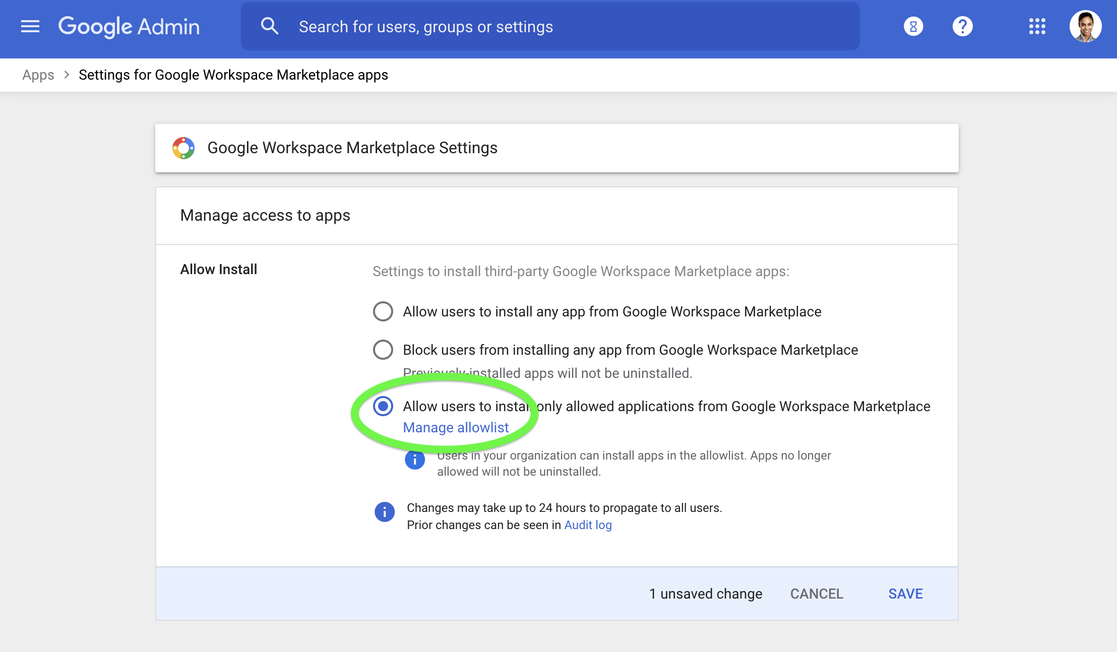 Manage your allowlist for apps in Google Marketplace