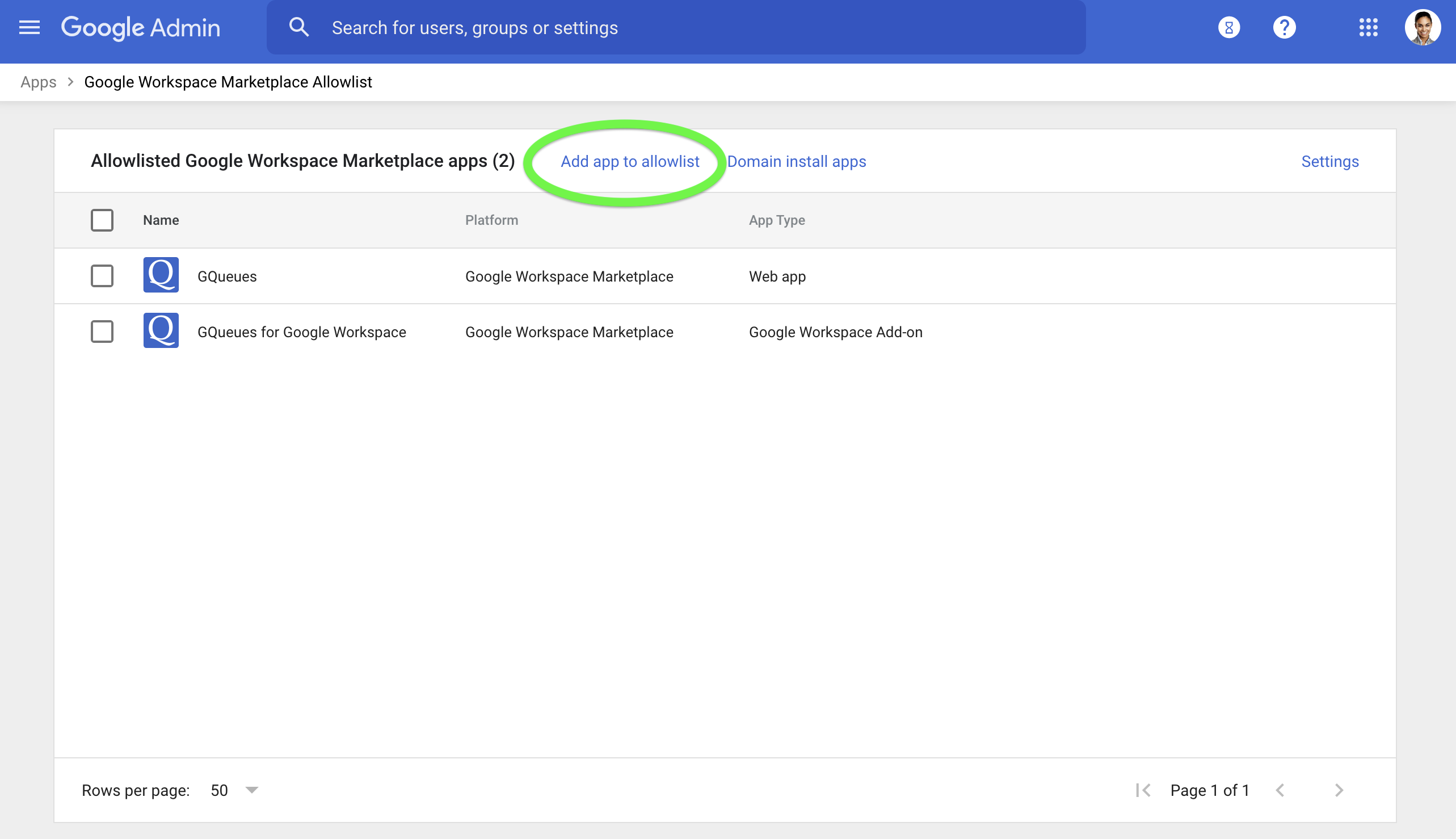 Add the GQueues for Google Workspace Add-on to your allowlist in Google Marketplace