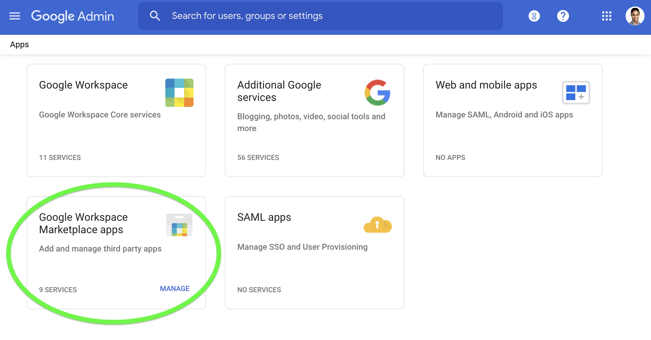 Select Google Workspace Marketplace apps to manage your apps